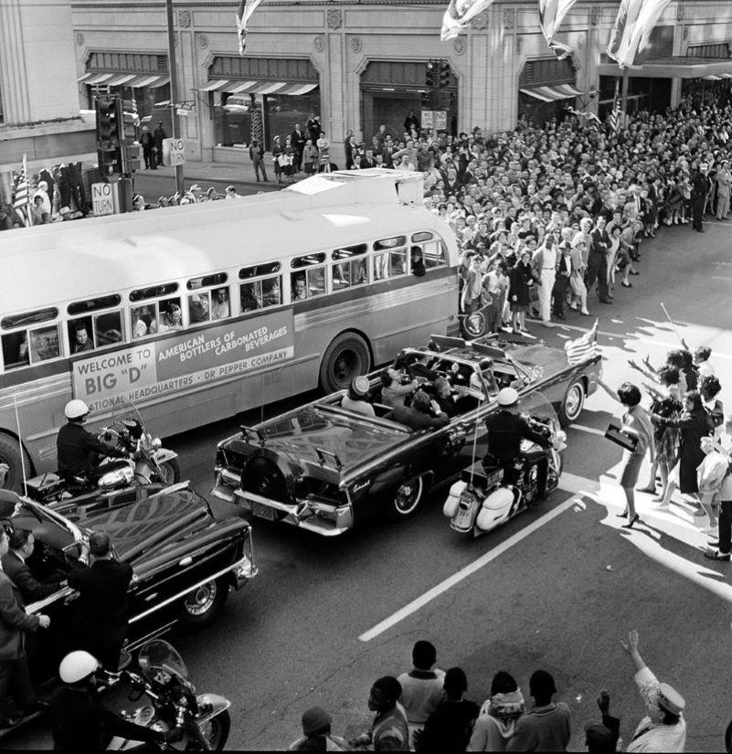 motorcade in front of Adolphus Hotel