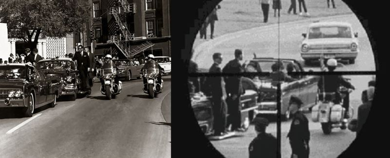 JFK's head through rifle scope