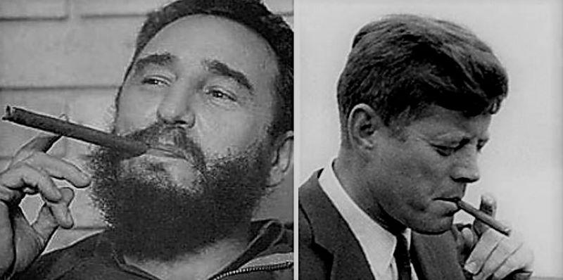 JFK and Castro smoking cigars