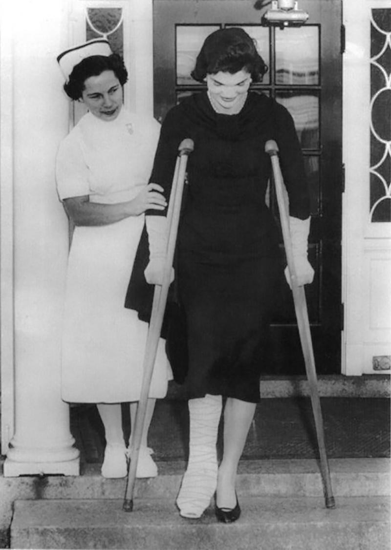 Jackie on crutches