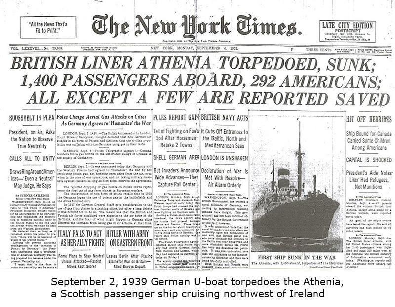 Athenia is torpedoed